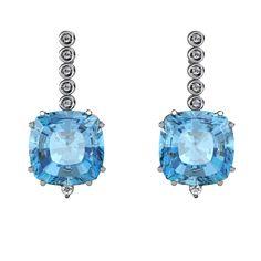 Gepedras - Joias e pedras preciosas - Brincos Toazio Azul