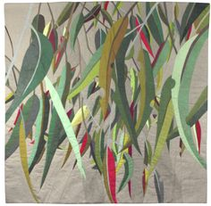 Contemporary quilted artwork by Ruth de Vos. high by wide Natural linen fabric, hand-dyed cotton fabric, cotton batting. Australian Native Flowers, Australian Art, Landscape Art Quilts, Landscapes, Fabric Art, Linen Fabric, Cotton Fabric, Contemporary Quilts, Painted Leaves