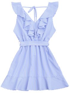 Ruffle Hem Striped Belted Dress - Ruffle Hem Striped Belted Dress – STRIPE M Source by katihellen - Black Ruffle Dress, Belted Dress, The Dress, Striped Dress, Blue Colour Dress, Cute Casual Dresses, Look Cool, Swing Dress, Fashion Dresses