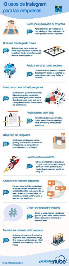 10 usos de Instagram para las empresas #infografia #infographic #socialmedia