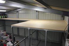 The Garage - Building Storage - Engineered to Slide Loft Storage, Barn Storage, Shop Storage, Built In Storage, Garage Storage, Garage Organization, Shop Buildings, Metal Buildings, Garage Loft