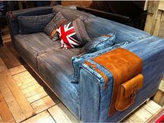 Just don't. This is never ok. Denim Furniture, Concrete Furniture, Furniture Upholstery, Furniture Styles, Denim Couch, Denim Rug, Denim Decor, Rustic Sofa, Denim Ideas