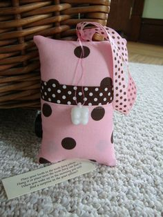 Tooth Fairy Pillow with tooth holder Pink and by suespecialtyshop, $6.95