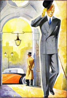 Another fine 4 button DB circa 1938 1940s Mens Fashion, Vintage Fashion, Men's Fashion, Classic Fashion, Vintage Gentleman, Vintage Men, Fashion Illustration Vintage, Fashion Illustrations, Savile Row