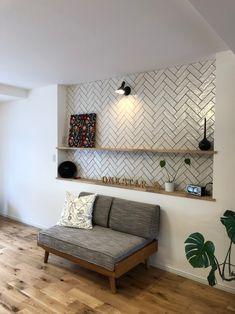 リビング/ヘリンボーン/タイル/無垢フロアー/ホワイト/ヘリンボーンタイル×オークstyleの家 Home Furniture, Furniture Design, Kitchen Tiles, You Are Beautiful, Beams, Ikea, Couch, Contemporary, Interior Design
