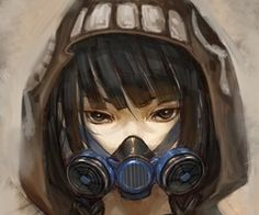 anime girls gas mask