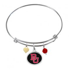 Boston University Terriers Stainless Steel Adjustable Bangle Bracelet with Heart Charm /& Crystal Accent