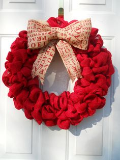 Holiday Christmas Red Burlap Door or Wall by ChloesCraftCloset, $43.00