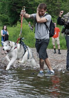 One way to get a scared husky across a river. She was doggie-paddling the whole time. - Imgur