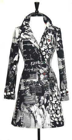 Desigual Coat  NWT SZ 6 / 38 Black White Multicolor Graphic Design Front Button