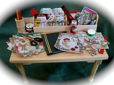 DOLLS HOUSE MINIATURES    A Crafter's - Scrapbook Table $65.00 USD