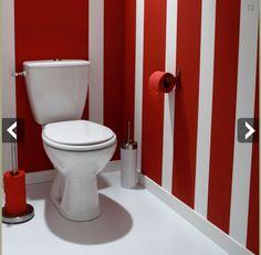 WC Suspendus, mur briques gris et touches de rouge | SALLE DE BAIN ...