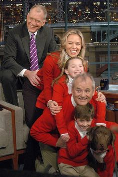 """Dec. 20, 2004    Letterman joined Bill Murray and his """"rented"""" family and dog for a Christmas card photo."""
