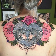 Here's another view! #tattooworkers #cute #pretty #glitter #modernbodyartuk #mba #art #unicorns #love #magic #pink #lilac #nofilter #girltattoo #beads #roses #vintagefloral #fantasy #mythical #mythological #pearls