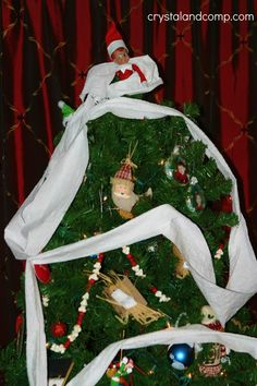 There was not a note from Elf today.    Just a mischievous smile.    Oh, he fits in so well with my boys.    He toilet papered our tree.    Crazy guy!