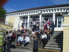 The steps of the Pav on a sunny day, Trinity College, Dublin