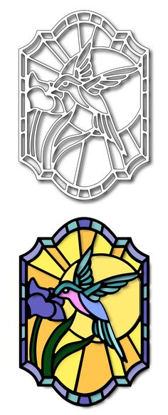 Frantic Stamper Precision Die - Hummingbird Stained Glass,$18.99