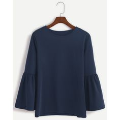 Navy Round Neck Bell Sleeve T-shirt ($12) ❤ liked on Polyvore featuring tops, t-shirts, blue t shirt, navy tee, bell sleeve tops, navy top and blue top