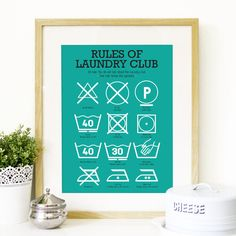 SALE Kitchen Laundry Club Poster Art with laundry symbols explained Mid Century Modern decor Poster Art Kitchen art wall in teal - A2 size