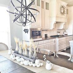 Kitchen nook light. Kitchen nook round light is Quorum International Celeste 6 light Sphere ORB. Modern farmhouse Kitchen nook light. #Kitchennooklight Beautiful Homes of Instagram ceshome6