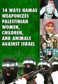 14 ways Hamas weaponizes Palestinian women, children and animals against Israel.