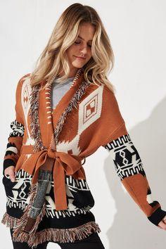 Faye Knit Cardigan in Rust with Black Boho Print Orange - St Frock