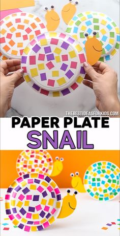 PAPER PLATE SNAIL 🐌😍 - such a fun snail craft for kids! Easy craft for preschool or kindergarten to do too!<br> This easy paper plate snail craft uses leftover scrap paper for the shell! You can easily make this with our snail template too! Paper Plate Crafts For Kids, Spring Crafts For Kids, Easy Paper Crafts, Wood Crafts, Quick Crafts, Easy Art For Kids, Diy Paper, Easy Toddler Crafts, Tissue Paper Crafts