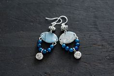 Cobalt Blue Earrings with Recycled Blue Vintage Tin, Blue Dangle Earrings, Unusual Earrings, One of a Kind Jewelry