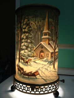 VINTAGE 1957 ECONOLITE MOTION LAMP 766-7 WINTER SNOW SCENE SLEIGH ... I can remember my grandparents had one similar to this