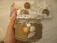 Decorar botes de cristal DIY Sea Glass Crafts, Seashell Crafts, Mason Jar Projects, Mason Jar Crafts, Diy Bottle, Bottle Crafts, Home Decor Vases, Leaf Crafts, Decorated Jars