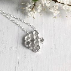 Honeycomb Necklace, Sterling Silver