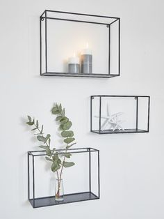 Cool, edgy, urban metal shelf rack set to add an instant industrial vibe to the kitchen, bedroom or living space. More from my sitePanier accrochant fixé au mur de fil en métal moderne / support. Living Room Designs, Living Room Decor, Living Spaces, Living Room Wall Shelves, Shelf Wall, Bedroom Shelving, Scandi Living Room, Scandi Bedroom, Wall Shelving