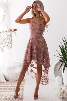 Tulle homecoming dress - Spaghetti Straps Floral Tulle and Chiffon High Low Homecoming Dress – Tulle homecoming dress Hoco Dresses, Prom Party Dresses, Tight Dresses, Dance Dresses, Pretty Dresses, Sexy Dresses, Beautiful Dresses, Evening Dresses, Casual Dresses