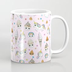 Unicorn poops Coffee Mug by Laura Frere - 11 oz Graphic, Illustration, Coffee Mugs, Unicorn, Tableware, Artwork, Cupcakes, Patterns, Mugs