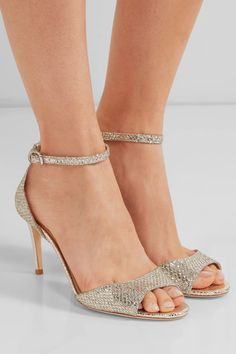 Jimmy Choo - Tori Embellished Glittered Leather Sandals - Gold - IT Gold Sandals, Leather Sandals, Peep Toe Shoes, Shoes Heels, Fashion Heels, Jimmy Choo, Me Too Shoes, Ankle Strap, Stiletto Heels