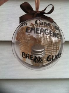 Christmas Ornament, painted ornament, Funny Ornament, Moonshine ornament