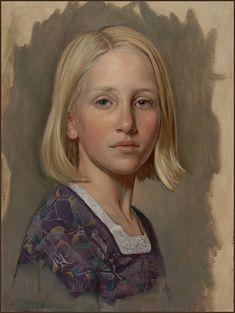Study of a Blond Girl, Oil on watercolor paper, 40cm. x 30cm. by Scott E. Bartner