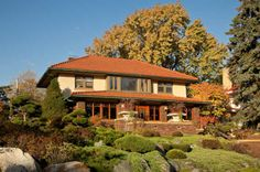 Picturesque Prairie-style house on a Minnesota lake.  Touches of Asian style in the interior.
