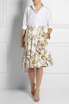 Dolce & Gabbana|Floral-print cotton-poplin skirt|NET-A-PORTER.COM