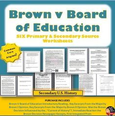 Civil Rights Movement – Brown v Board of Education Primary  Source Worksheets