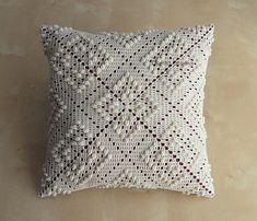 Rose Trellis Pattern 12 Crochet Square P - Diy Crafts Crochet Pillow Cases, Crochet Cushion Cover, Crochet Pillow Pattern, Crochet Lace Edging, Crochet Cushions, Crochet Flower Patterns, Crochet Beach Bags, Diy Crafts Vintage, Diy Crafts Crochet
