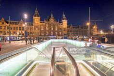 Stock Photo : Amsterdam city Central Station and the entrance to the subway at night