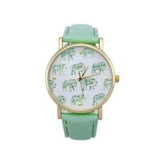 Elephants fashion wristwatch green band girl woman watch (23 BAM) ❤ liked on Polyvore featuring jewelry and watches