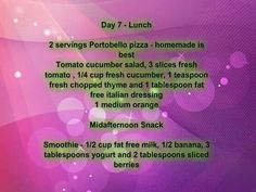 Day 7 Meal Planning 1200 Calories Lunch