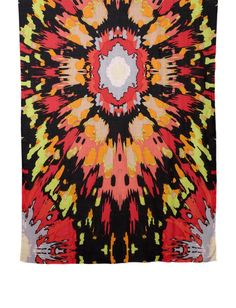 "Black Multi Sun Storm Wearable Art Scarf Theodora and Callum 40x78"""