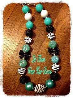 Light Tiffany Blue Turquoise, Teal Zebra, Black, White, Chunky Bead Necklace for Little Girls, Infants, Kids Trendy Jewelry, Toddler Trendy  on Etsy, $13.49
