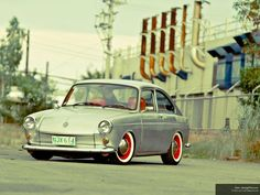 VW fastback - red wheels with whitewall tires = the perfect combination