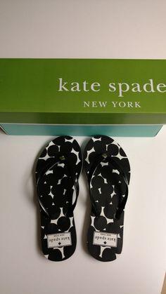 3460c7c19 Kate Spade NIB Black Splodge Dot Nassau Flip Flops  fashion  clothing   shoes