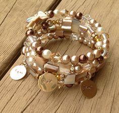 Crème & Beige Memory Wire Cuff Bracelet de perles