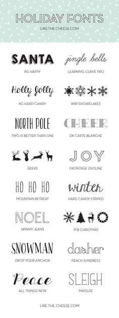 Holiday fonts for your Christmas cards and crafts